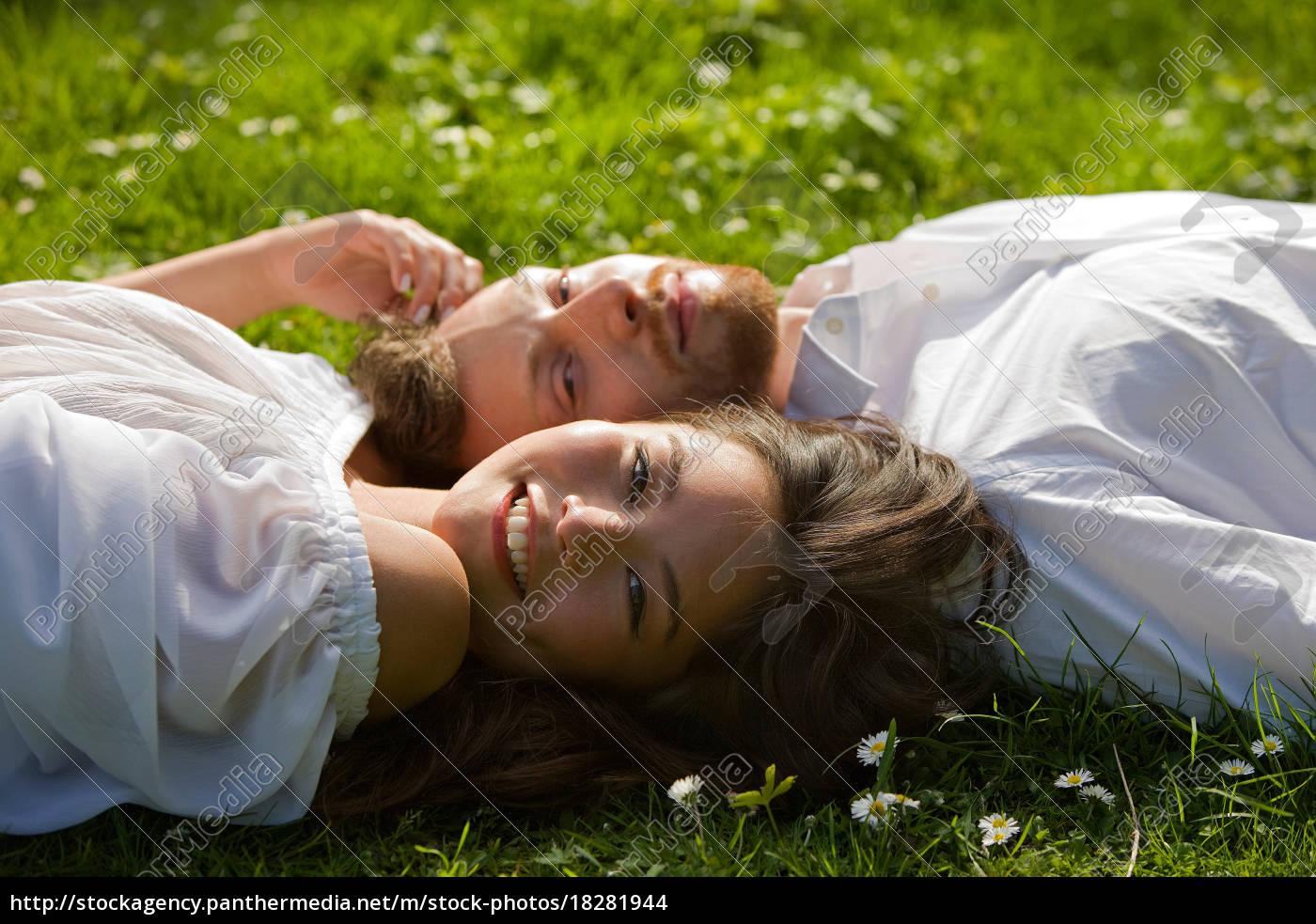 love, paar, entspannung, in, einem, park - 18281944