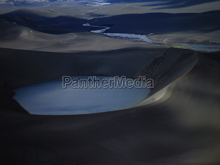 aerial view of crater lake in