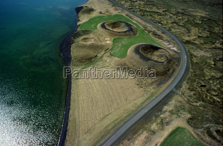 aerial view of volcano craters by