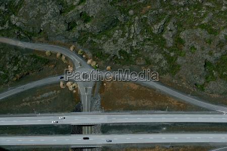 aerial view of freeway and roundabout