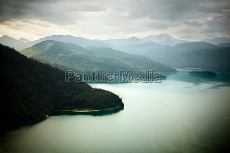 aerial view of mountains and still