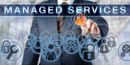 corporate manager pushing managed services