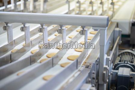 frisch gemachte kekse auf fertigungsstrasse in