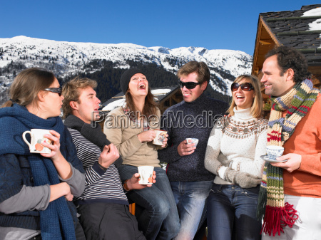 group, of, friends, on, terrace, at - 18290744