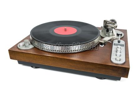 plattenspieler mit vinyl schallplatte auf einem