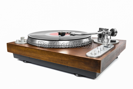 plattenspieler mit vinyl schallplatte auf weissem
