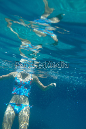 woman swimming shot from underwater