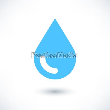 blaues wassertropfensymbol mit schatten auf weiss