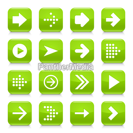green arrow sign rounded square icon