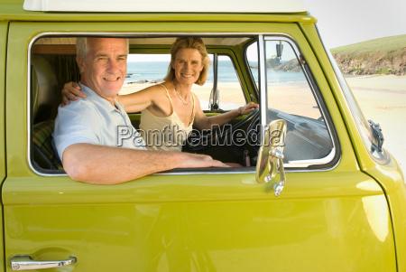 reifes, paar, saß, in, wohnmobil - 18305814