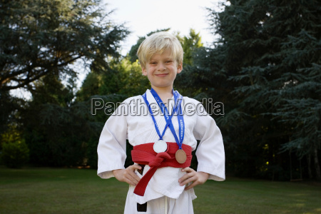 boy in karate kit with