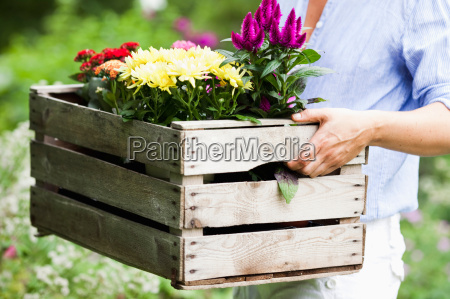 woman carrying a basket of flowers
