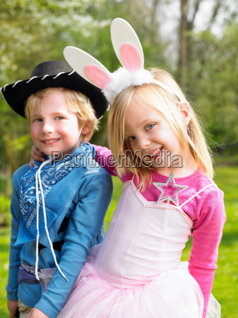 boy and girl wearing costumes