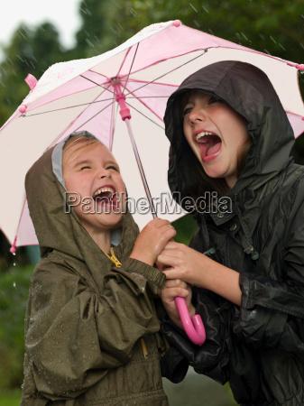 girls under an umbrella singing