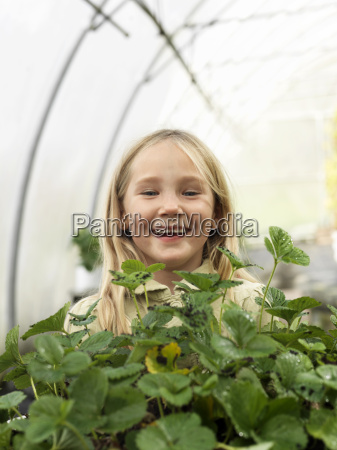 girl in green house