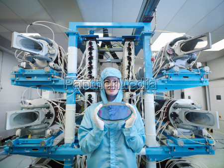 female scientist with filters holding a
