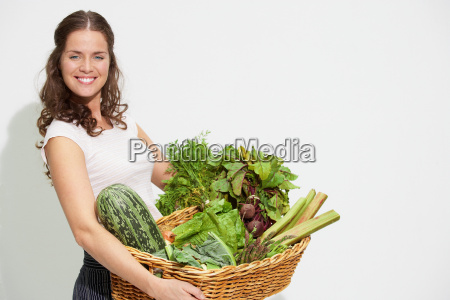 young woman with large basket