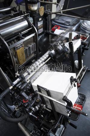 paper printing machine at work in