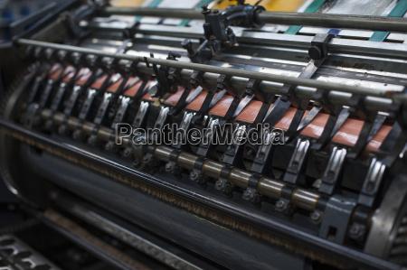 close up of paper print machine