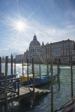 gondolas on grand canal with a