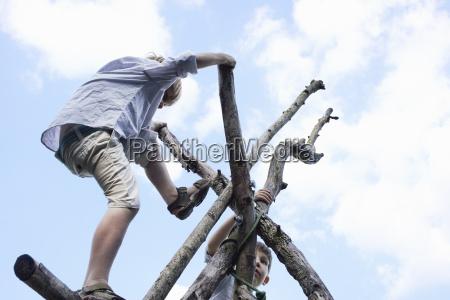 boys climbing branch structure