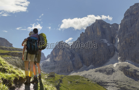 rear view of hiking couple looking