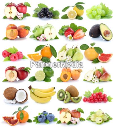 isolated fruits fruit collage apple orange