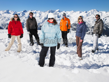 group standing in snow