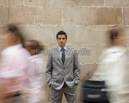 business man in crowd