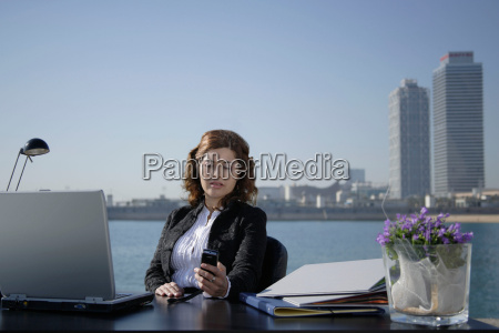 business woman in outdoor office