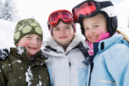 group of children in the snow