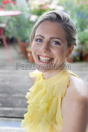 happy woman in garden