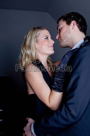 woman and man preparing to kiss