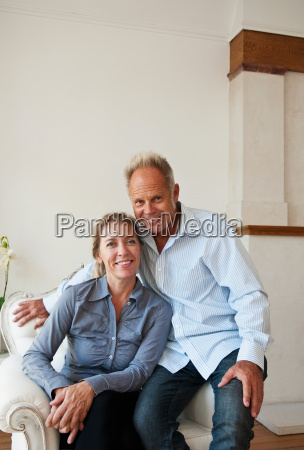 middle aged couple at home