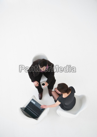 aerial view of business people working