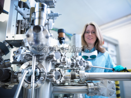 portrait of female scientist with a