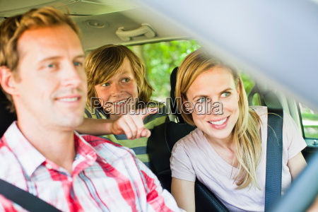 family riding in car together