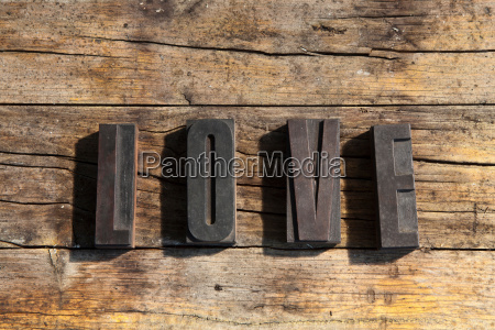 wooden blocks spelling love