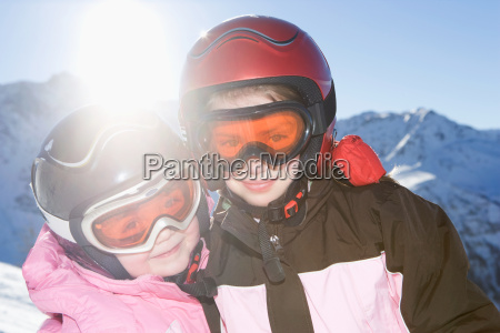 portrait of young girls in ski