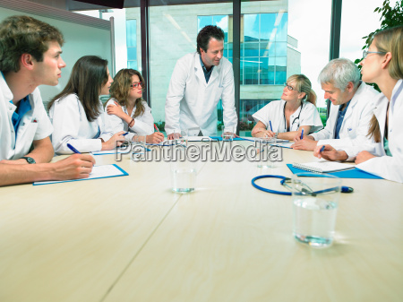 business meeting of a group of