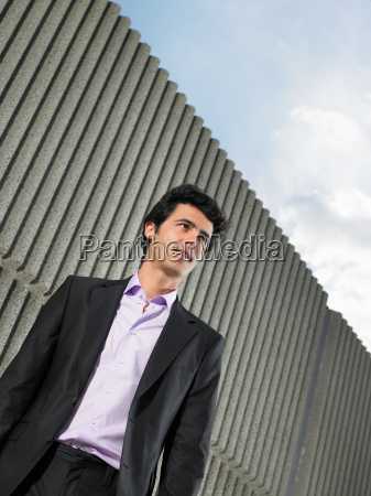 low angle portrait of young man