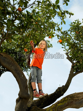young girl standing in an orange