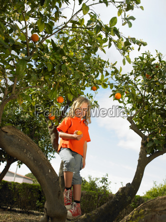young girl holding an orange