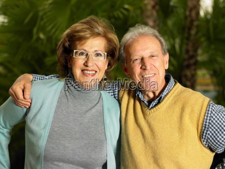 senior couple embracing
