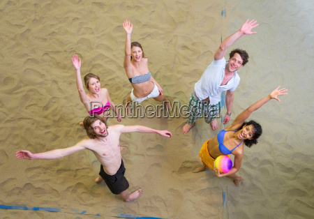 aerial view of friends waving at