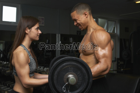 young woman and mid adult man