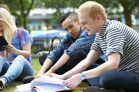male students sitting working on college