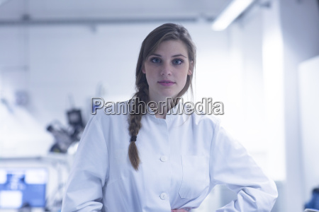 portrait of young female scientist in