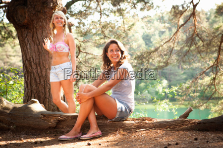 two female friends at blue pool
