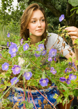 a female looking at a purple